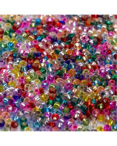 Silver Lined Glass Beads 100g. Per pack