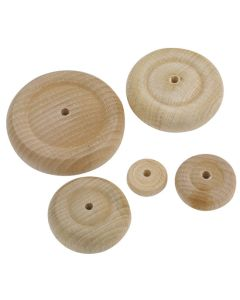 Turned Wooden Wheels. Pack of 10