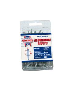Aluminium Alloy Blind Rivets - 4mm. Per pack