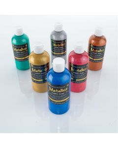 Colourcraft Metallic Fabric Paint - Assorted Colours. Set of 6
