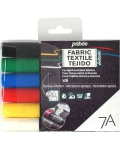 Pebeo Setacolor 7A Opaque Fabric Pens. Pack of 6